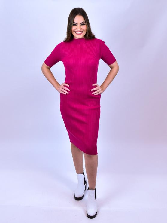 Vestido Tricot Pink   - Carmelina.com.br