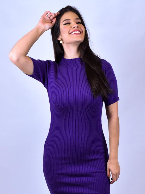 Vestido Tricot Roxo   - Carmelina.com.br