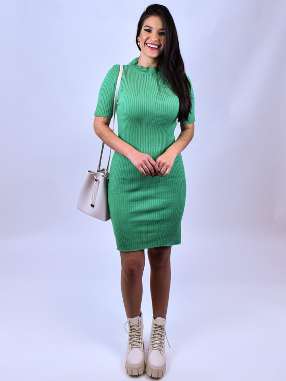 Vestido Tricot Verde   - Carmelina.com.br
