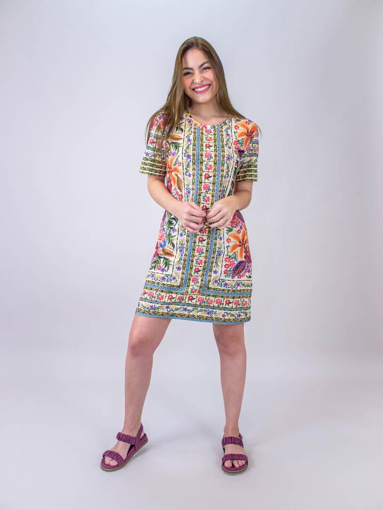 Vestido Tshirt Farm Bordadeira Lenço  - Carmelina.com.br