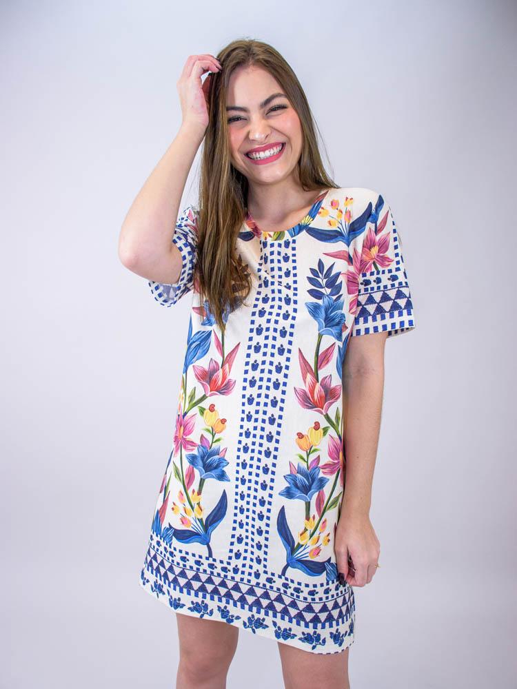 Vestido Tshirt Farm Floral Padang Lenço