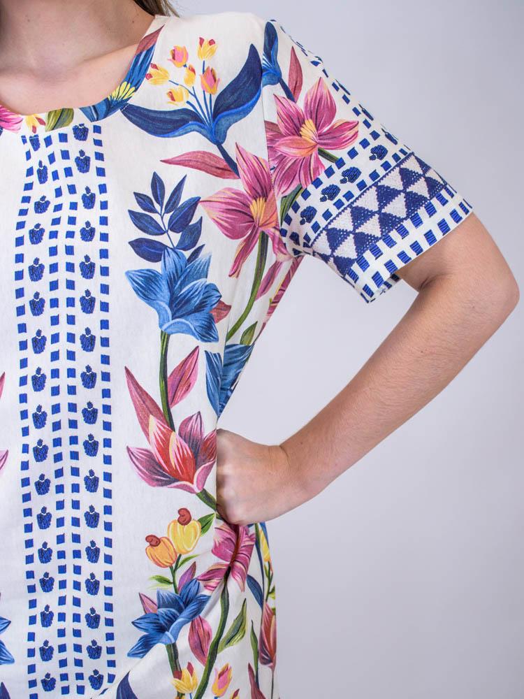 Vestido Tshirt Farm Floral Padang Lenço  - Carmelina.com.br