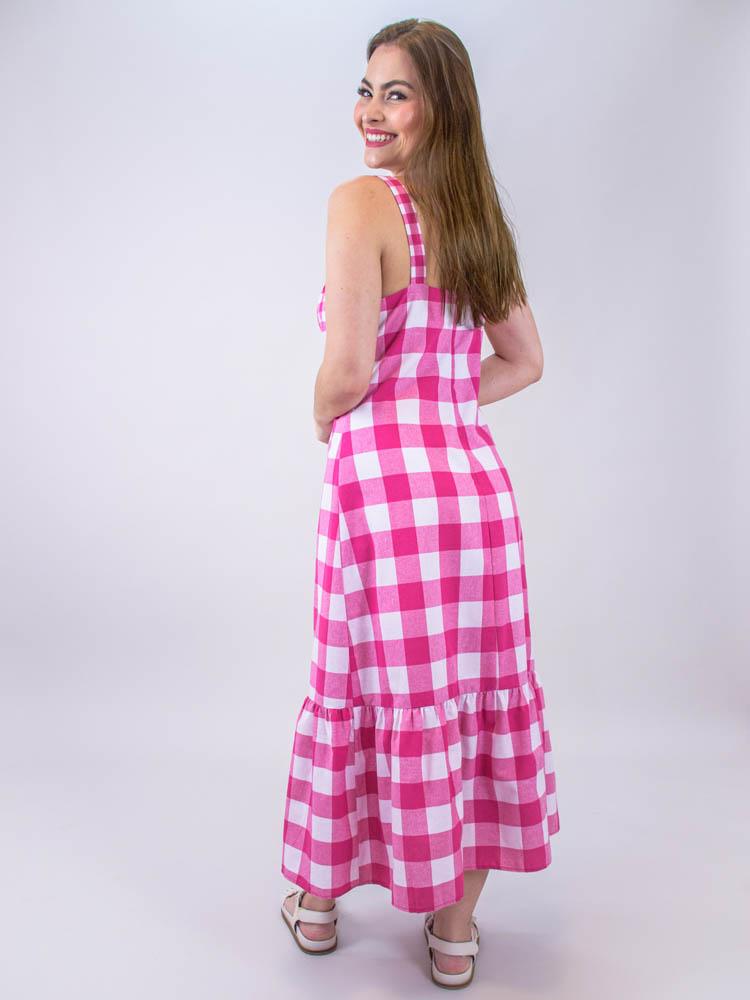 Vestido Vichy Babado Pink  - Carmelina.com.br