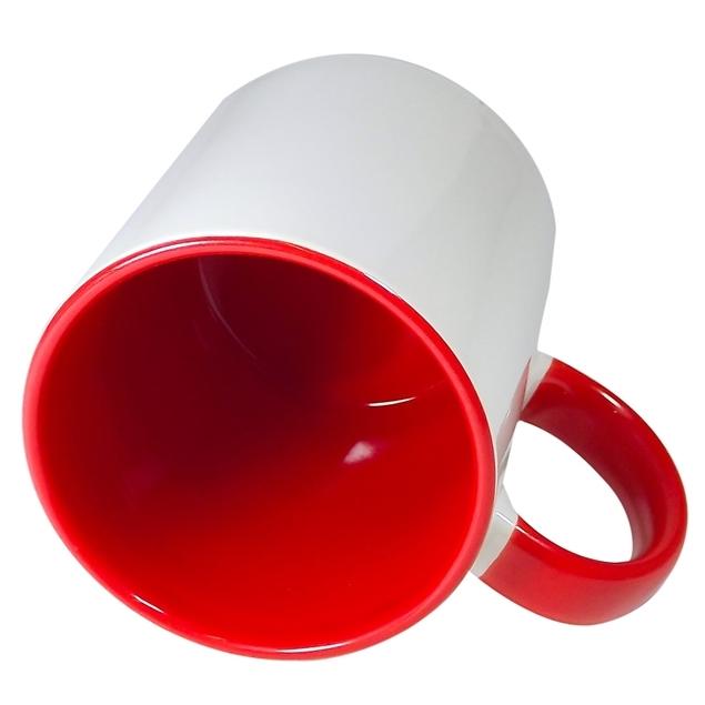 Caneca Alça e Interior Vermelho Resinada Para Sublimação em Cerâmica  - ALFANETI COMERCIO DE MIDIAS E SUBLIMAÇÃO LTDA-ME