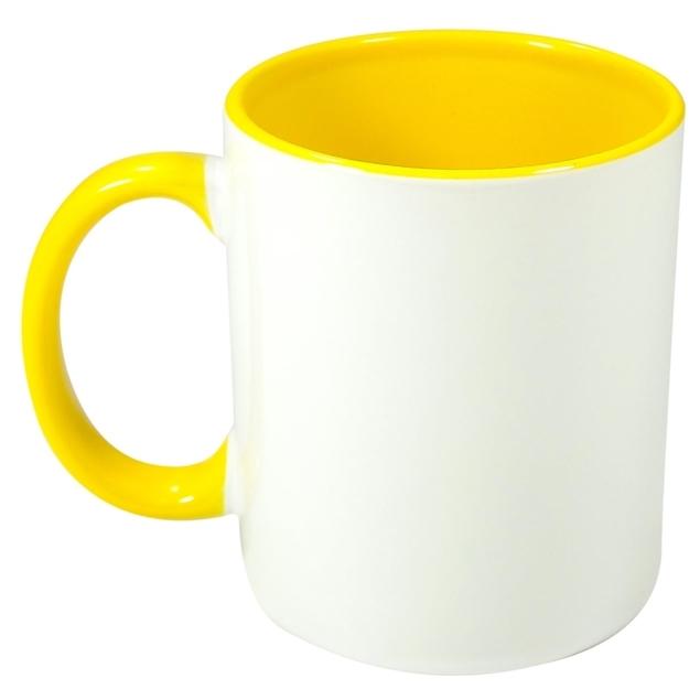 Caneca Alça e Interior Amarelo Resinada Para Sublimação em Cerâmica  - ALFANETI COMERCIO DE MIDIAS E SUBLIMAÇÃO LTDA-ME