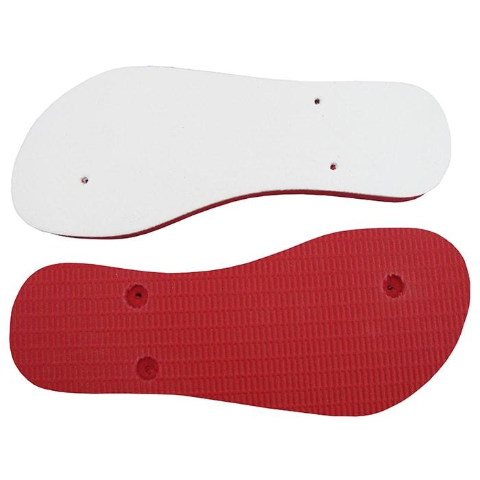 Chinelo e Tiras Vermelho Com Tecido Branco Para Sublimação  - ALFANETI COMERCIO DE MIDIAS E SUBLIMAÇÃO LTDA-ME