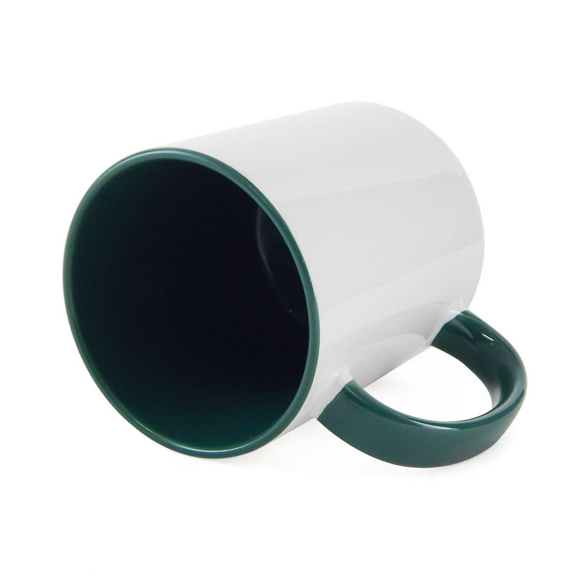Caneca Alça e Interior Verde Escuro Resinada Para Sublimação em Cerâmica  - ALFANETI COMERCIO DE MIDIAS E SUBLIMAÇÃO LTDA-ME