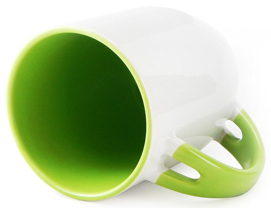Caneca para Sublimação de Cerâmica Branca com Alça, Interior e Colher - Verde - Classe A  - ALFANETI COMERCIO DE MIDIAS E SUBLIMAÇÃO LTDA-ME