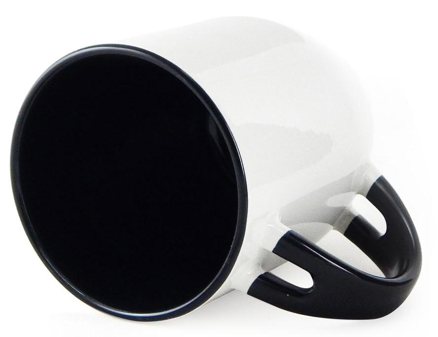 Caneca para Sublimação de Cerâmica Branca com Alça, Interior e Colher - Preto  - Classe A  - ALFANETI COMERCIO DE MIDIAS E SUBLIMAÇÃO LTDA-ME