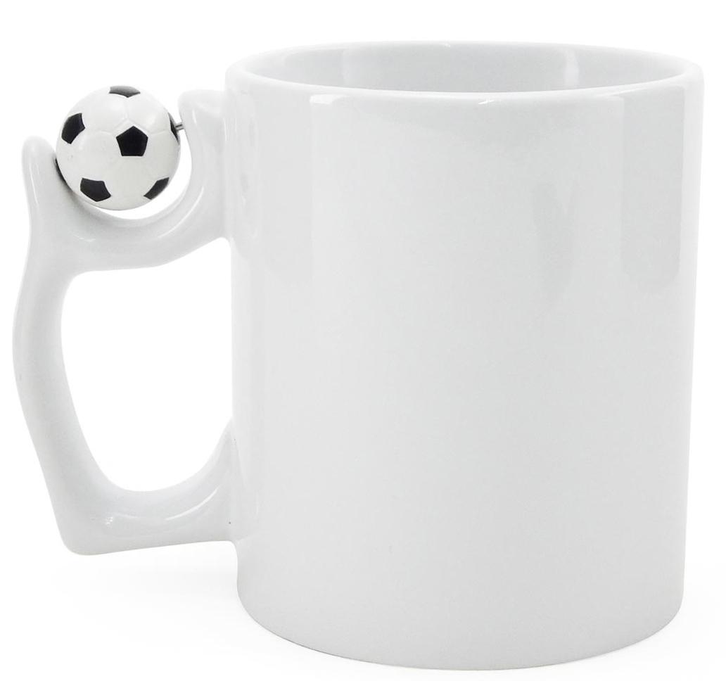 Caneca Branca para Sublimação Com Bola De Futebol Na Alça  - ALFANETI COMERCIO DE MIDIAS E SUBLIMAÇÃO LTDA-ME
