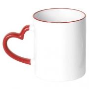 Caneca Branca Alça Coração Resinada Para Sublimação em Cerâmica ( Borda e Alça Vermelho )
