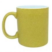 Caneca para Sublimação de Cerâmica Glitter Dourado