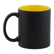 Caneca Para Sublimação Mágica Preto Fosco em Cerâmica Interior Amarela