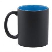 Caneca Para Sublimação Mágica Preto Fosco em Cerâmica Interior Azul