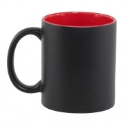 Caneca Para Sublimação Mágica Preto Fosco em Cerâmica Interior Vermelha