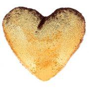 Capa de Almofada coração com lantejoulas Sublimática dourado/branco 39x44 (Mágica muda de cor)