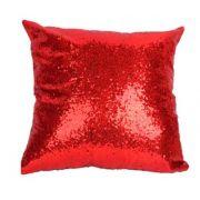 Capa de Almofada com lantejoulas Sublimática vermelho/prata 40x40 (Mágica muda de cor)