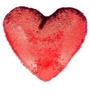 Capa de Almofada coração com lantejoulas Sublimática vermelho/branco 39x44 (Mágica muda de cor)