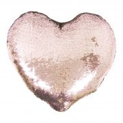 Capa de Almofada coração com lantejoulas Sublimática champanhe/branco 39x44 (Mágica muda de cor)