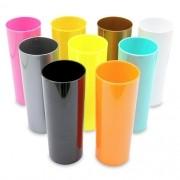 Copo Long Drink em Acrílico Colorido Leitoso ou Translúcido - 350ml