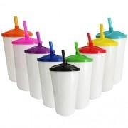 Copo Twister em Acrílico Branco Sólido Tampa e Canudo Colorido - 500ml