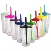 Copo Twister em Acrílico Transparente Tampa e Canudo Colorido - 500ml