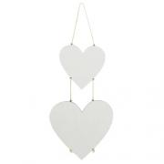 Kit 2 Plaquinhas De Coração Com Corda MDF Para Sublimação Texturizado Branco