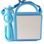 Lancheira Infantil de Plástico para Sublimação com Squeeze e Sanduicheira  - Azul