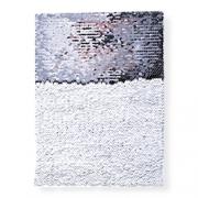 OBM-Aplique de Lantejoula Sublimática Dupla Face Retangular 21x28cm Prata e Branco