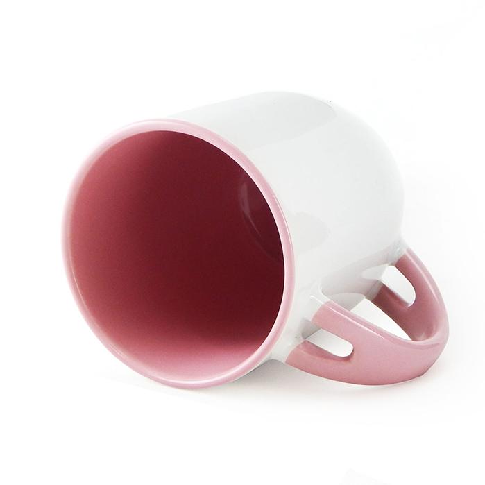 Caneca para Sublimação de Cerâmica Branca com Alça, Interior e Colher - Rosa - Classe A  - ALFANETI COMERCIO DE MIDIAS E SUBLIMAÇÃO LTDA-ME