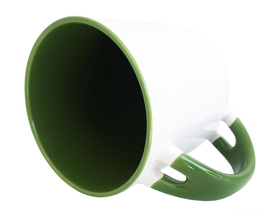 Caneca para Sublimação de Cerâmica Branca com Alça, Interior e Colher - Verde Escuro - Classe A  - ALFANETI COMERCIO DE MIDIAS E SUBLIMAÇÃO LTDA-ME