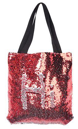 Bolsa com lantejoulas sublimática vermelho/prata 40x40 (MÁGICA MUDA DE COR)  - ALFANETI COMERCIO DE MIDIAS E SUBLIMAÇÃO LTDA-ME