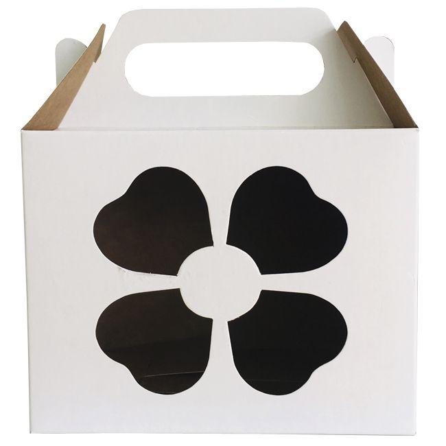 Caixinha branca para caneca Trevo- (Com janela decorativa e alça)  - ALFANETI COMERCIO DE MIDIAS E SUBLIMAÇÃO LTDA-ME