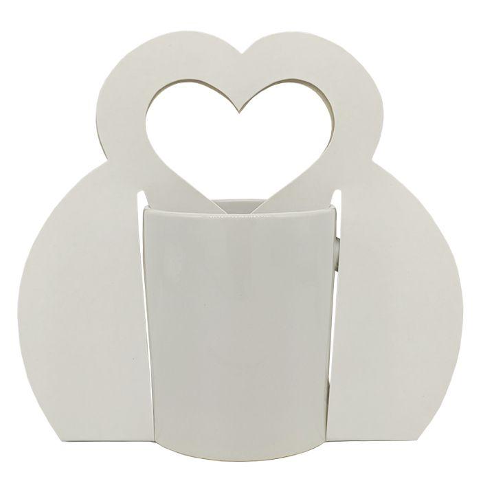 Caixinha branca Sublimática para caneca - ( Tipo bolsa com Alça de coração)  - ALFANETI COMERCIO DE MIDIAS E SUBLIMAÇÃO LTDA-ME