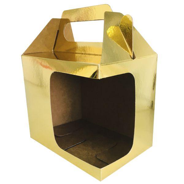 Caixinha dourada para caneca - (Com alça e  janela em L)  - ALFANETI COMERCIO DE MIDIAS E SUBLIMAÇÃO LTDA-ME