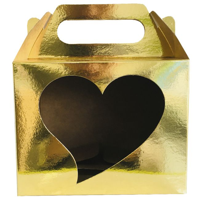 Caixinha dourada para caneca - (Com janela decorativa CORAÇÃO e alça)  - ALFANETI COMERCIO DE MIDIAS E SUBLIMAÇÃO LTDA-ME
