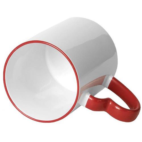 Caneca Branca Alça Coração Resinada Para Sublimação em Cerâmica ( Borda e Alça Vermelho )  - ALFANETI COMERCIO DE MIDIAS E SUBLIMAÇÃO LTDA-ME