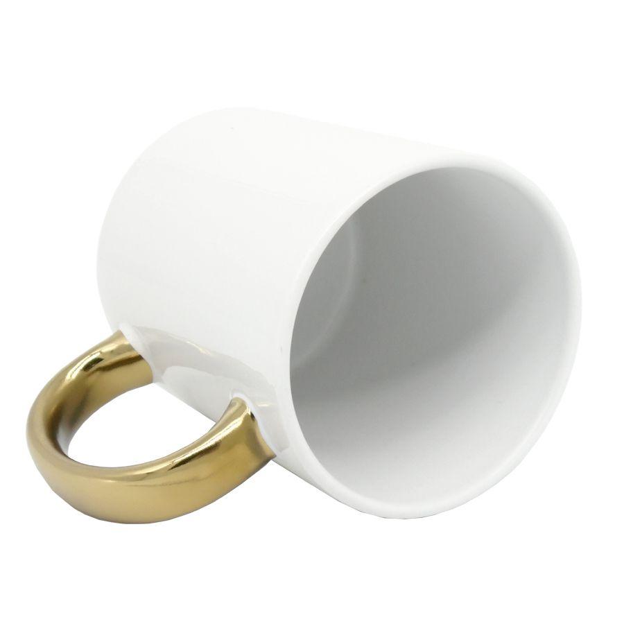 Caneca Branca Alça Cromada Dourado em Cerâmica Classe A  - ALFANETI COMERCIO DE MIDIAS E SUBLIMAÇÃO LTDA-ME