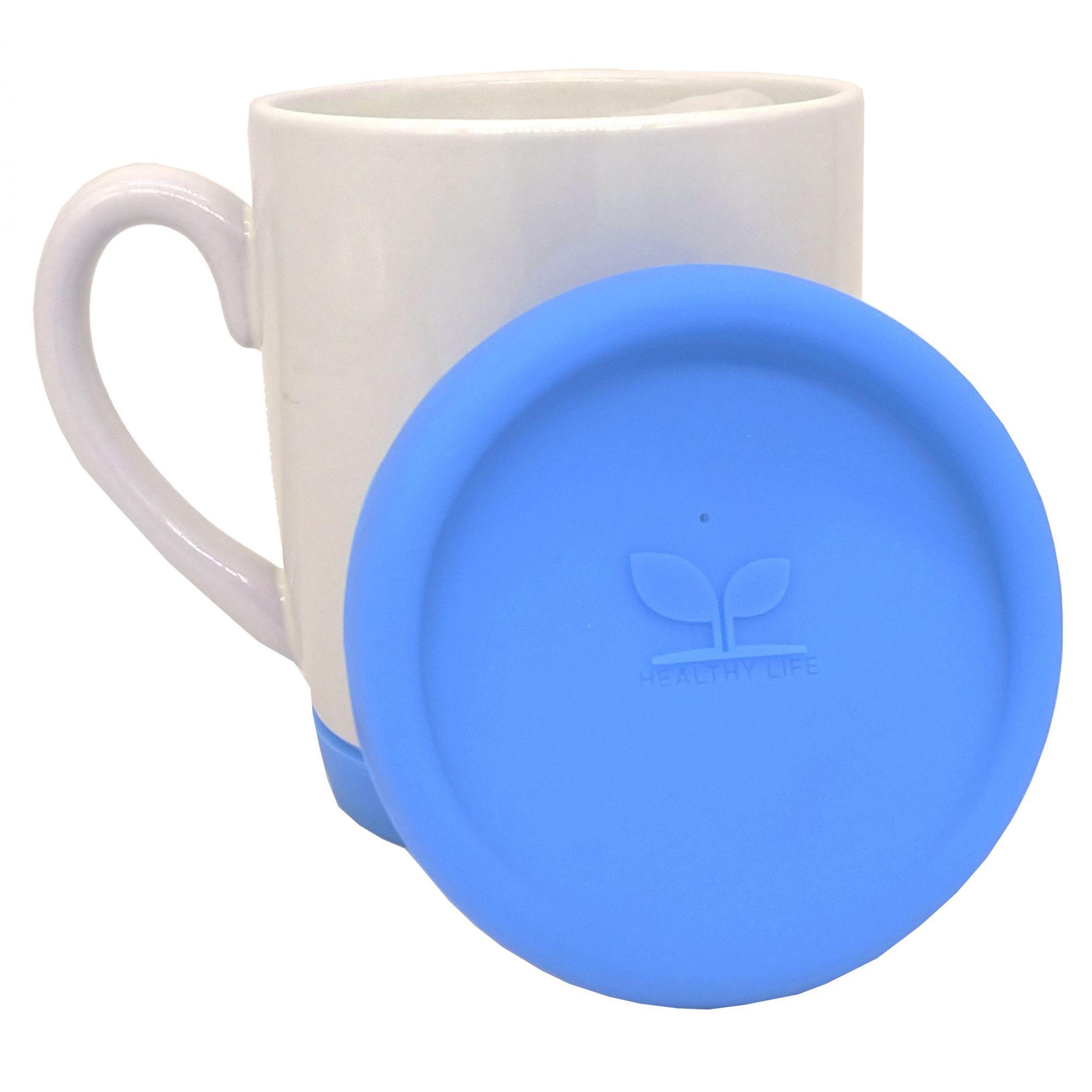 Caneca de cerâmica com tampa e base de silicone Azul Claro - Classe A  - ALFANETI COMERCIO DE MIDIAS E SUBLIMAÇÃO LTDA-ME