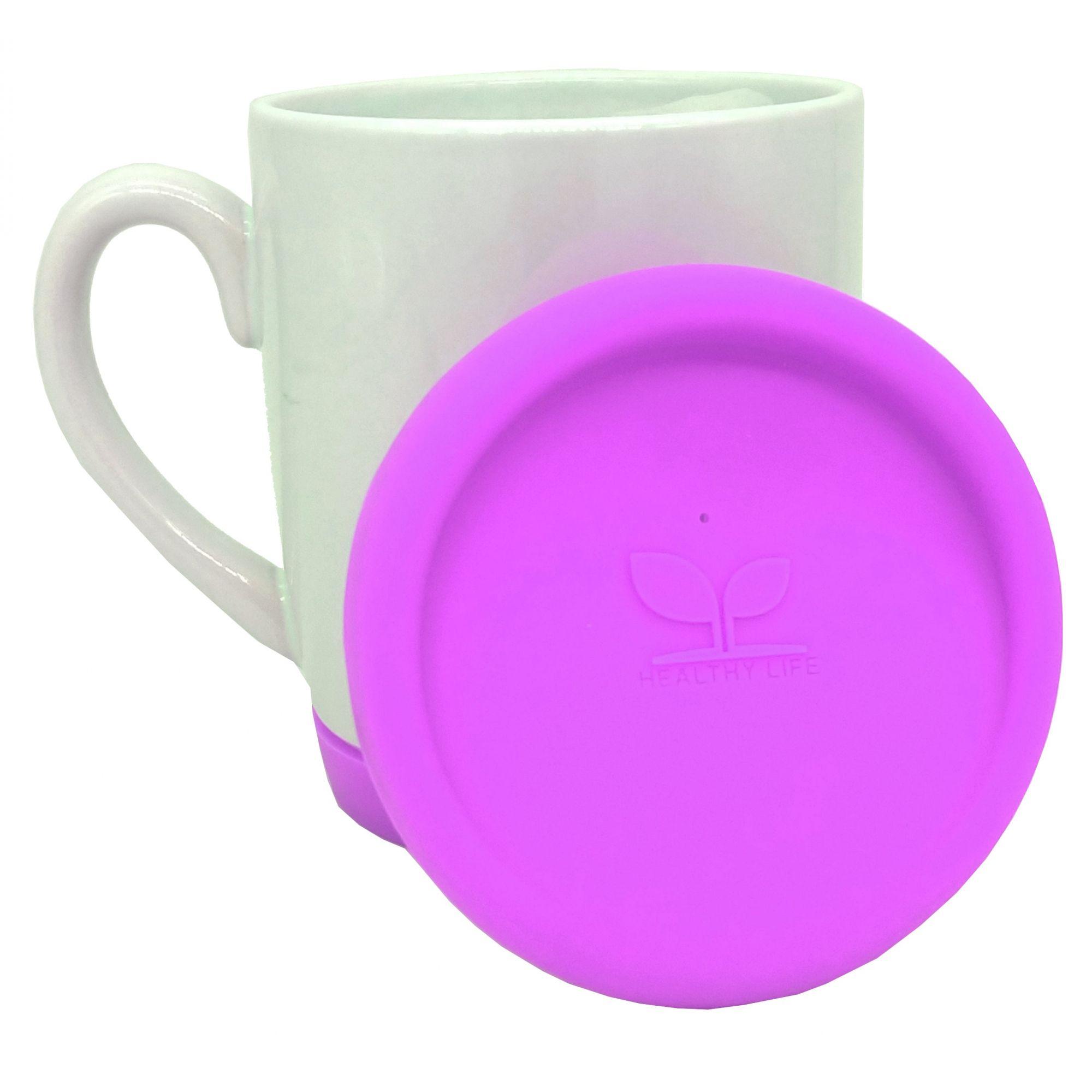 Caneca de cerâmica com tampa e base de silicone Rosa Pink - Classe A  - ALFANETI COMERCIO DE MIDIAS E SUBLIMAÇÃO LTDA-ME