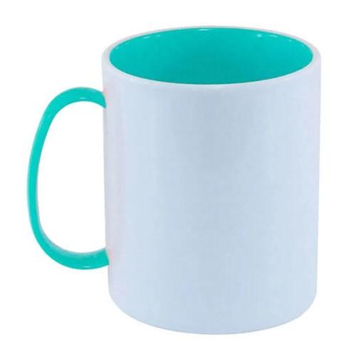Caneca em Polímero Para Sublimação Branca com Alça e Interior Azul Bebe 325ml  - ALFANETI COMERCIO DE MIDIAS E SUBLIMAÇÃO LTDA-ME