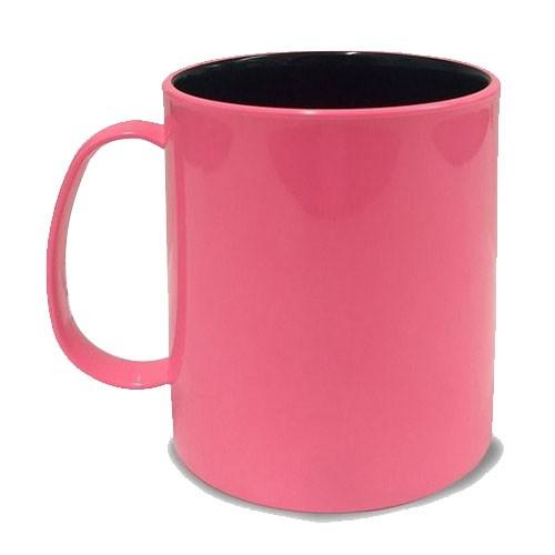 Caneca em Polímero Para Sublimação Rosa Bebe com Interior Preto 325ml  - ALFANETI COMERCIO DE MIDIAS E SUBLIMAÇÃO LTDA-ME