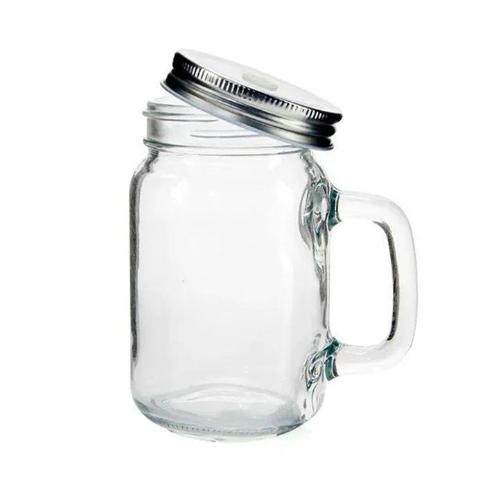 Caneca Mason Jar de Vidro - 430ml (Transparente)  - ALFANETI COMERCIO DE MIDIAS E SUBLIMAÇÃO LTDA-ME