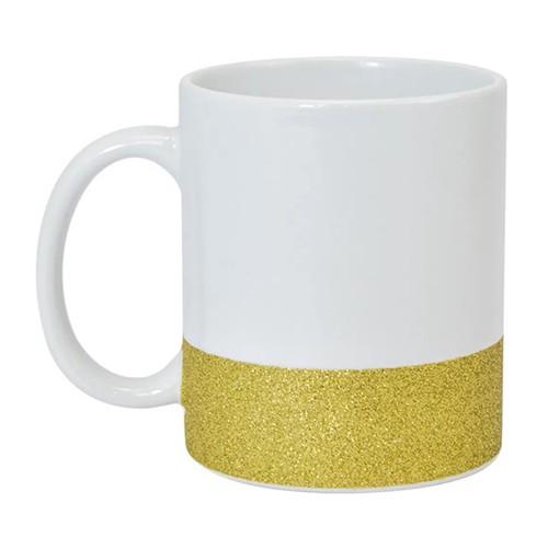 Caneca para Sublimação de Cerâmica Base Glitter Dourada  - ALFANETI COMERCIO DE MIDIAS E SUBLIMAÇÃO LTDA-ME