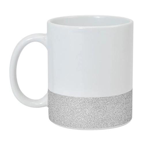 Caneca para Sublimação de Cerâmica Base Glitter Prata  - ALFANETI COMERCIO DE MIDIAS E SUBLIMAÇÃO LTDA-ME