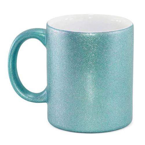 Caneca para Sublimação de Cerâmica Glitter Azul Tiffany  - ALFANETI COMERCIO DE MIDIAS E SUBLIMAÇÃO LTDA-ME