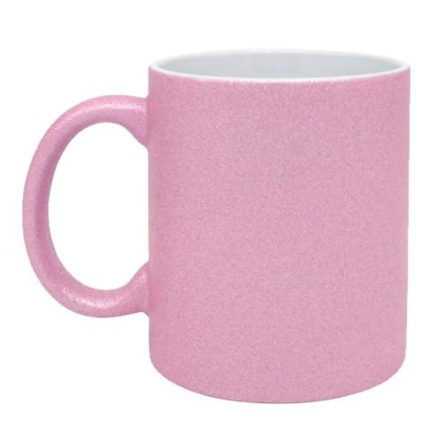 Caneca para Sublimação de Cerâmica Glitter Rosa Claro  - ALFANETI COMERCIO DE MIDIAS E SUBLIMAÇÃO LTDA-ME