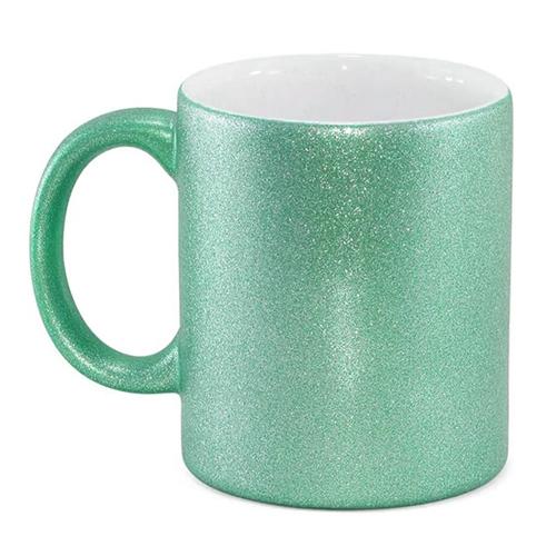 Caneca para Sublimação de Cerâmica Glitter Verde Esmeralda  - ALFANETI COMERCIO DE MIDIAS E SUBLIMAÇÃO LTDA-ME