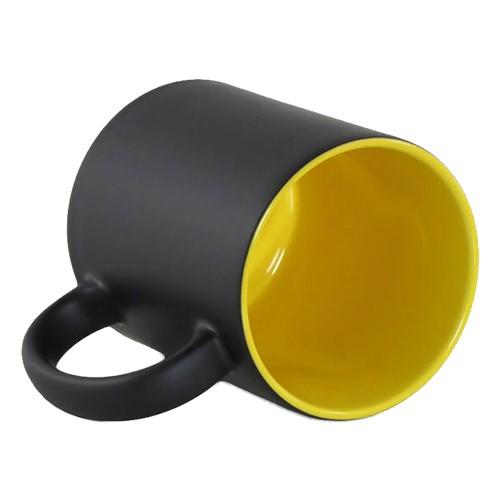 Caneca Para Sublimação Mágica Preto Fosco em Cerâmica Interior Amarela  - ALFANETI COMERCIO DE MIDIAS E SUBLIMAÇÃO LTDA-ME