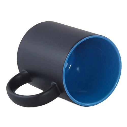 Caneca Para Sublimação Mágica Preto Fosco em Cerâmica Interior Azul  - ALFANETI COMERCIO DE MIDIAS E SUBLIMAÇÃO LTDA-ME